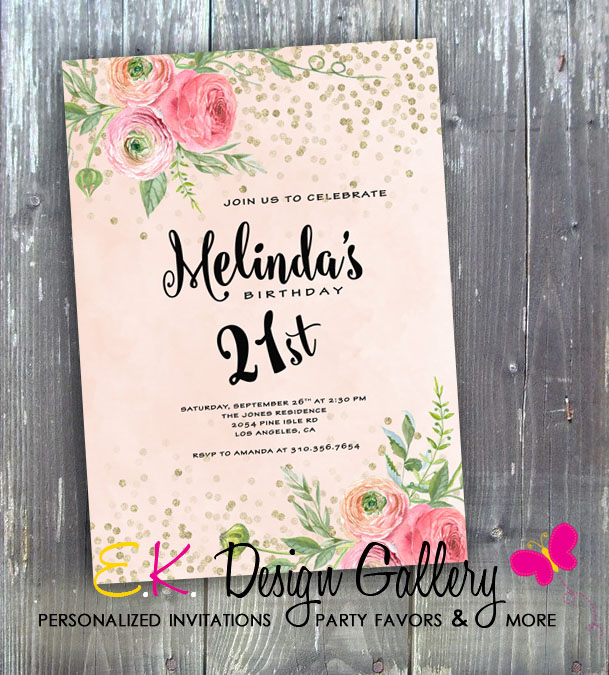 Elegand Flower 21st Birthday Party Invitation -Printed-elegant birthday invitation, flower birthday invitation, 21st birthday invitation, birthday invitation, invites, digital invitation, digital invite, printable invites, party printable invitations, diy, ek design gallary