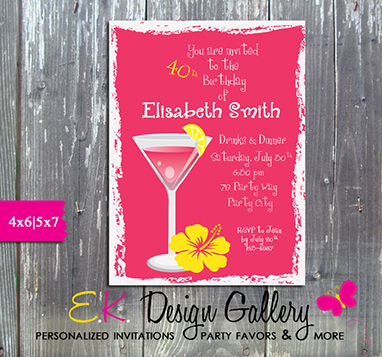 Adult Birthday Cocatil Party Pink 30,40,50th Birthday - Printed-adult birthday, invitation, 30th, 40th, 50th, birthday invitations, birthday invite, personalized, printed, digital invitations, ek design gallary, party printable, birthday party