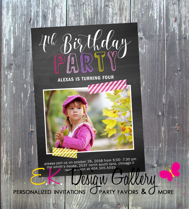 Chalkboard Girl Birthday Party Invitation - Printed-birthday party invitation, girls birthday party, girl invitation, birthday invites, digital invites, chalkboard birthday invitation, photo invitation, party printable invitation, diy, ek design gallary