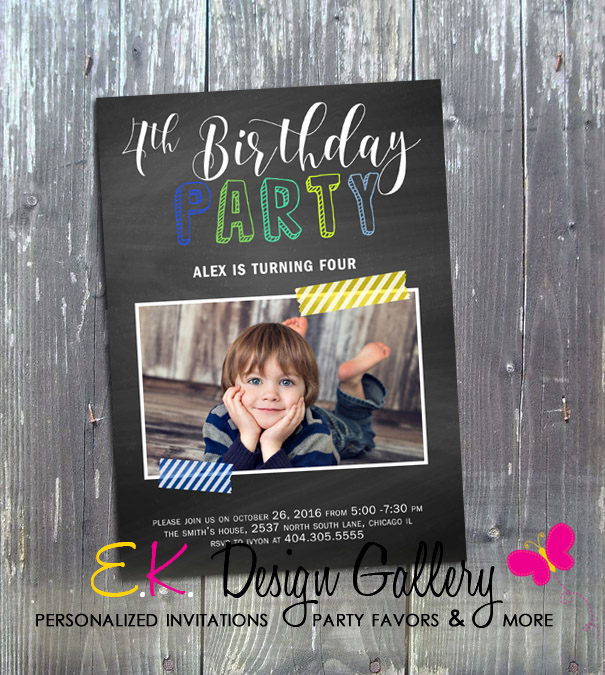 Chalkboard Boy Birthday Party Invitation - Printed-boy birthday invitation, birthday party invites, photo invitation, printable invites, digital invites, digital invitations, diy, ek design gallary