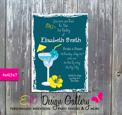 Adult Birthday Cocatil Party 30,40,50th Birthday - Printed-adult birthday, 30th birthday, 40th birthday, 50th birthday, ladies birthday, cocktail party, ek design gallery, party printable, digital, personalized invites, invitations, invitation