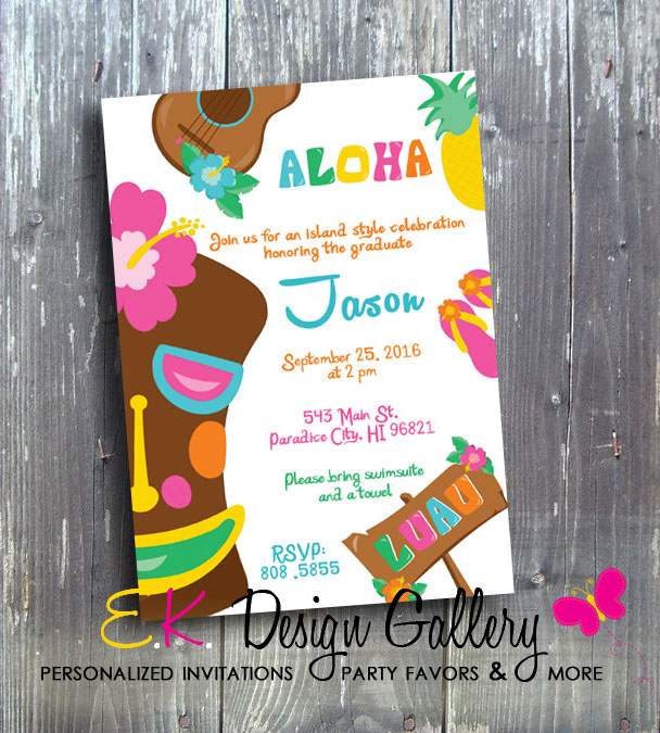 Hawaiian Island Style Aloha Birthday Party - Printed-Hawaiian style invitation, aloha birthday, luau birthday, island style invites, island style invitations, printable invites, digital invitation, diy, ek design gallary