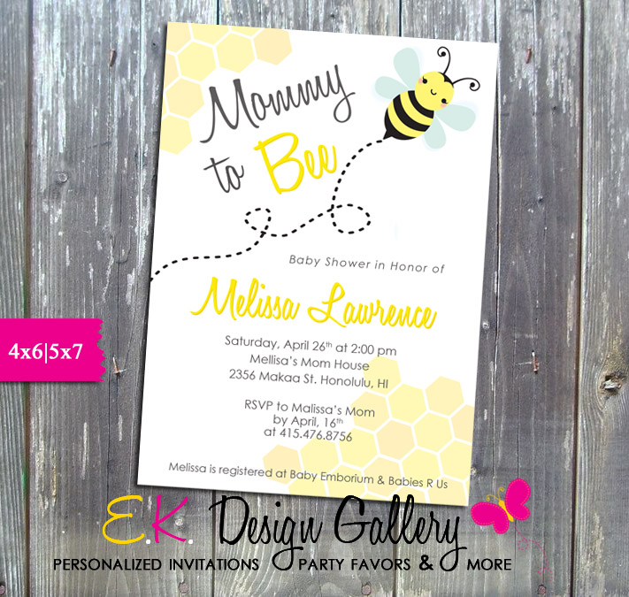 Mommy to Bee Baby Shower Persdonalized Invitation  - Printed-baby shower invitation, invite, invitations, mommy to bee, bee invitation, personalized, printable, digital, birthday invitation, diy, ek design gallery, party printable