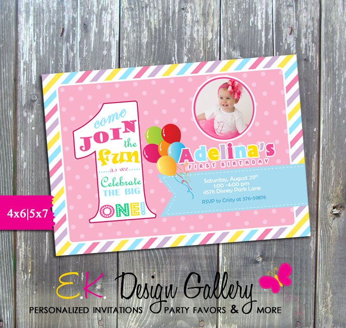 The Big One First 1st Birthday Party Invitation - Printed-1st birthday, the big one, invitation, invite, party invitation, party printable invitations, girls birthday, diy, ek design gallary