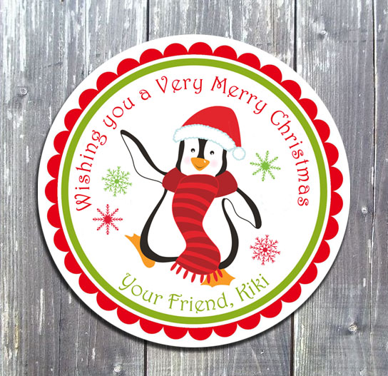 Christmas Penguin Gift Favor Tag - Printed-Christmas, tag, favor tag, gift tags, printable tags, party printable, party favors, digital invitation, birthday Invitation, ek design gallary