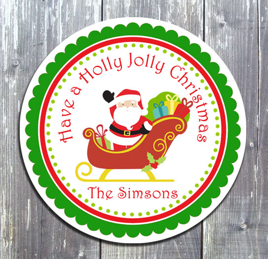 Christmas Santa Sled Gift Favor Tag - Printed-Christmas, tag, gift tags, favor tags, Santa, party printable, party favors, digital invitation, birthday invites, ed design gallary