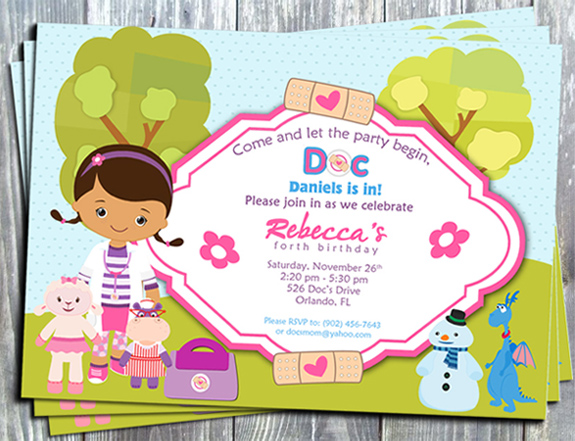 Doc McStaffins Birthday Party Invitation - E-file-Disney junior, doc mcStaffins, printable invitation, digital, invite, tags, stickers, party printable, party favors, ek design gallary,