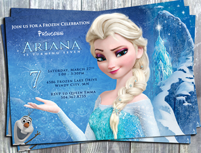 Disney Frozen Queen Elsa Birthday Invitation - E-File-Disney, froze, elsa, printable, invitation, digital, invite, tag, stickers, party printable, party favors, ek design gallary,