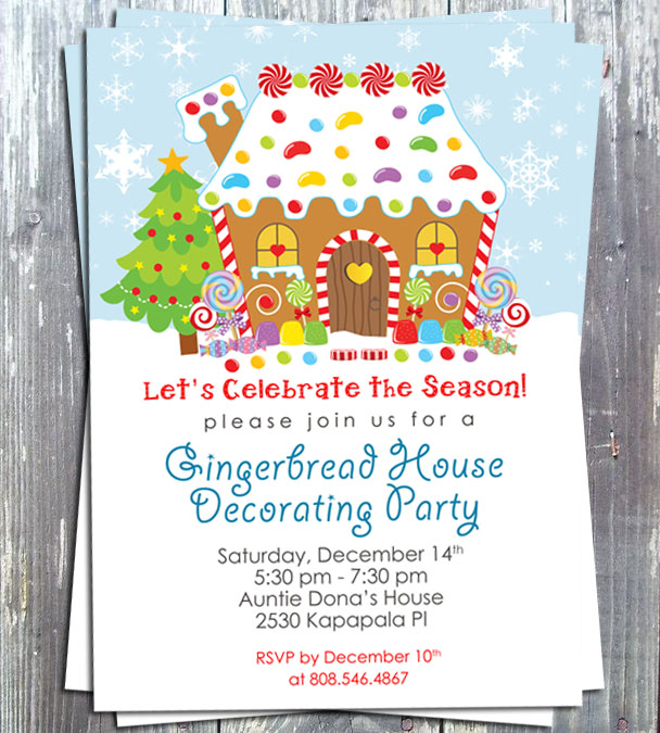 Gingerbread House Decoration Party Invitation - E-file-gingerbread, gingerbread decoration, party invitation, birthday invitation, party favors, winter, holiday card, ek design gallary