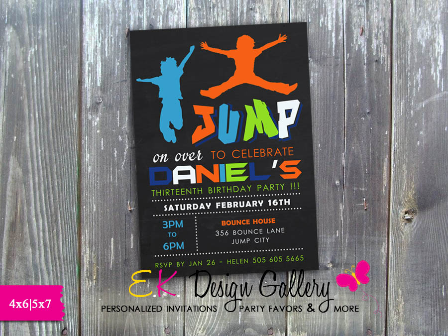 neon jump trampoline invitation bounce birthday party invite printed