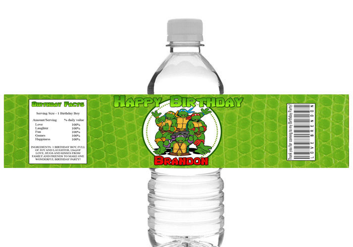 Ninja Turtle Printable Birthday Party Water Bottle Label-ninja turtles, mutant teenage ninja turtle, water bottle labels, printable invitations, digital invites, thank you tags, favor tags, gift tags, party printable, party favor, ek design gallary
