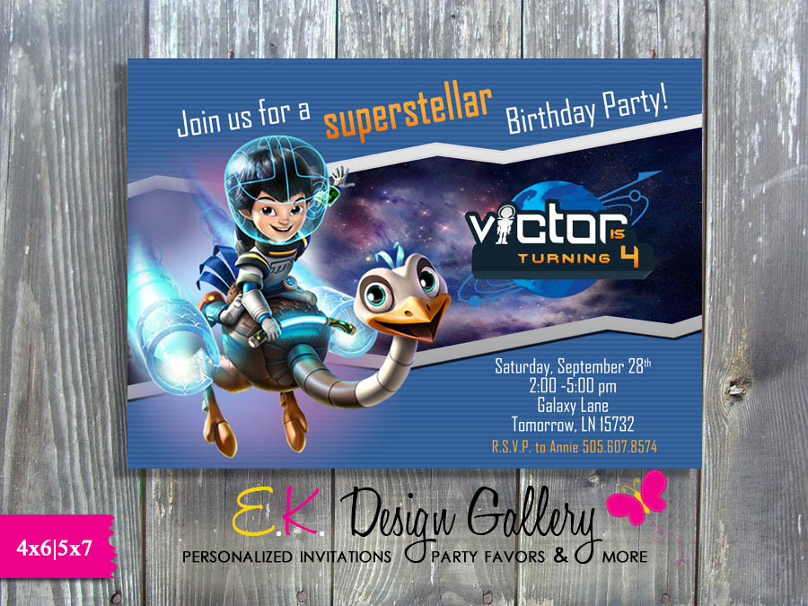 Miles from Tomorrowland Birthday Party Invitation - E-File-Miles from Tomorrowland, Birthday Party Invitation, personalized invitations, printable invites, party printable invitations, E-File, digital invites, ek design gallery