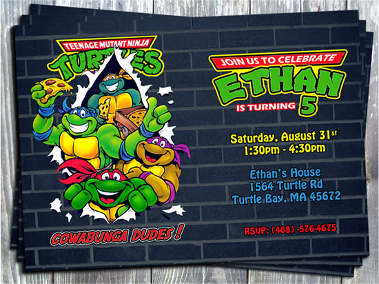 Teenage Mutant Ninja Turtles (TMNT) Birthday Party Invitation - Printed-ninja turtles, TMNT, birthday invitation, printable, digital, invite, party printable, party favors, thank you tags, gift tags, stickers, ek design gallary