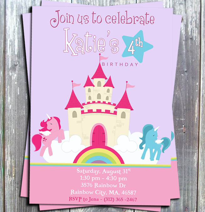 SpaceRocket Birthday Party Invitation Card - Printed-ponies invitation, ponie, party invitation, birthday invitation, party favors, ek design gallery, my little ponie invitation