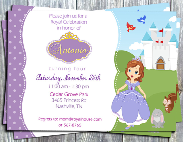 Princess Sofia First Birthday Party Invitation -Printed-princess, Disney, sofia the first, birthday party, printable invitation, digital invite, party printable, party favors, thank you tags, gift tags, stickers, ek design gallary