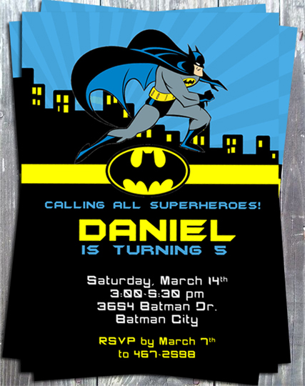 Super Heroes Batman Birthday Party  Invitation - Printed-super heroes, batman, birthday party, printable invitation, digital invite, party printable, party favors, thank you tags, gift tags, stickers, ek design gallary