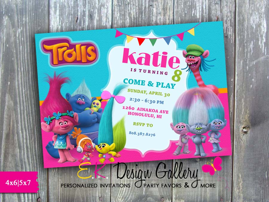 trolls theme birthday party invitation printed