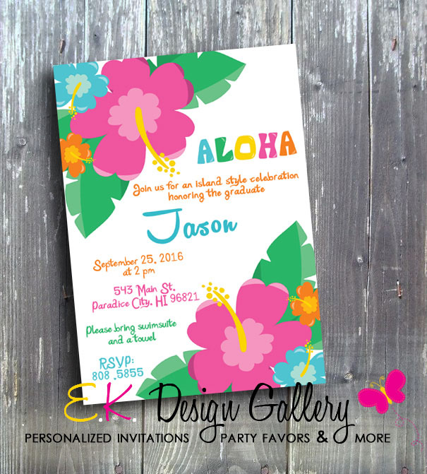 Island Style Hawaiian Party Aloha Luau Hawaiian Wedding Invitation - E-File-Hawaiian style invitation, aloha birthday, island style invitation, Hawaiian wedding, luau party, birthday party invitation, invites, printed invitation, digital invites, invitation, diy, ek design gallery, Hawaiian flower, hibiscus invitation