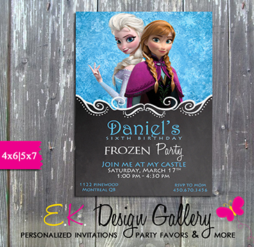 Disney Frozen Anna Elsa Birthday Party Personalized Invitation - Printed-Disney, anna, elsa, disney frozen, birthday invitation, personalized invitations, party invites, ek design gallery, digital, diy invite, party printable