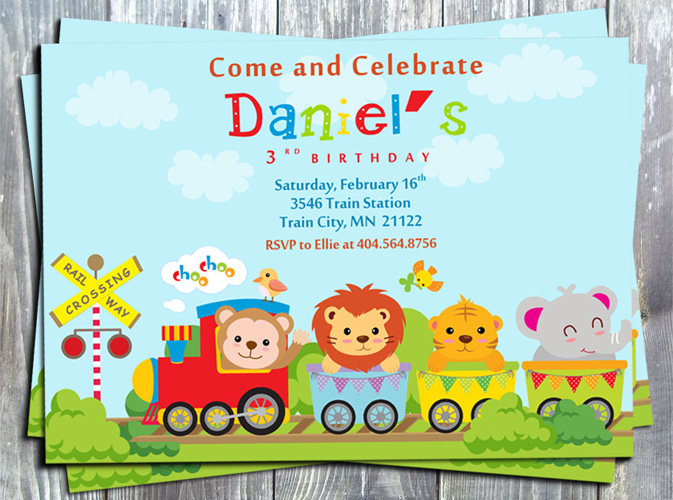 Animal Train Birthday Invitation - Printed-birthday invitation, animal, train, baby shower, digital invitation, party printable