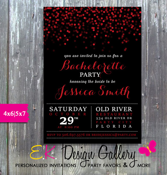 Bachelorette Party Red Sparcle Bridal Shower Invitation - Printed-bachelorette party invitation, wedding, bridal shower, printable invites, personalized invitations, party printable, birthday invitations, ek design gallery, theme parties, party invitations