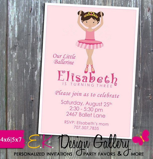 Ballerina Dancer Birthday Party Personalized Invitation - Printed-ballerina birthday, ballerina dancer, birthday invitation, invitations, party printable, theme birthday, diy, personalized invitations, ek design gallary