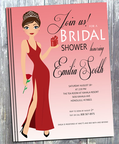 Diva Wedding Shower Invitation- Printed-wedding shower invites, bridal shower invitation, wedding