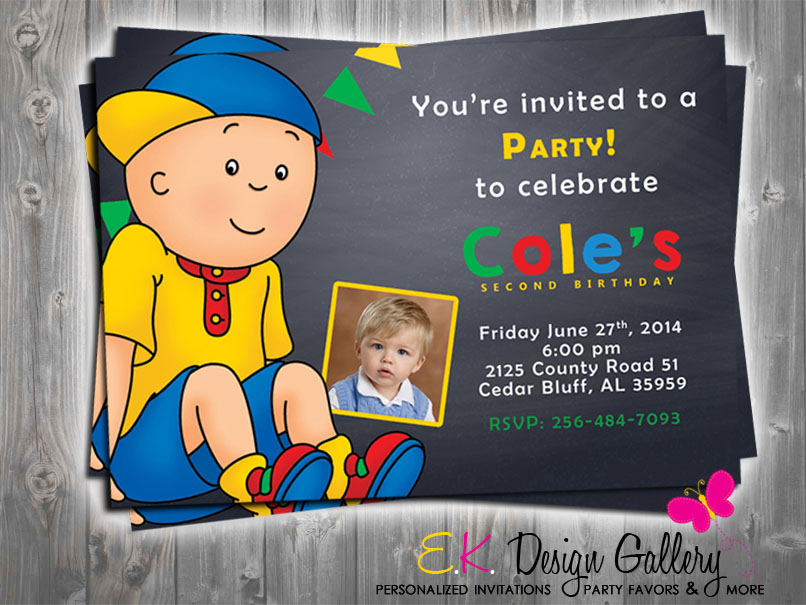 Caillou Birthday Party Photo Invitation - E-File-Caillou, Birthday Party, Photo Invitation, E-File, digital invitation, digital invite, party printable invitation, diy, ek design gallery