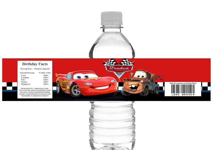 Disney Cars Water Bottle Labels Printable-Disney, cars, water bottle labels, party printable, party favors, digital invitations, birthday invites, thank you tag, favor tag, ek design gallary