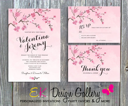 Cherry Blosom Floral Wedding Invitation Set - Printed-wedding, bridal, cherry blossom, flower, printable, personalized, invite, invitation, party invitation, party, ek design gallery, theme invitations, birthday invitations, digital, diy