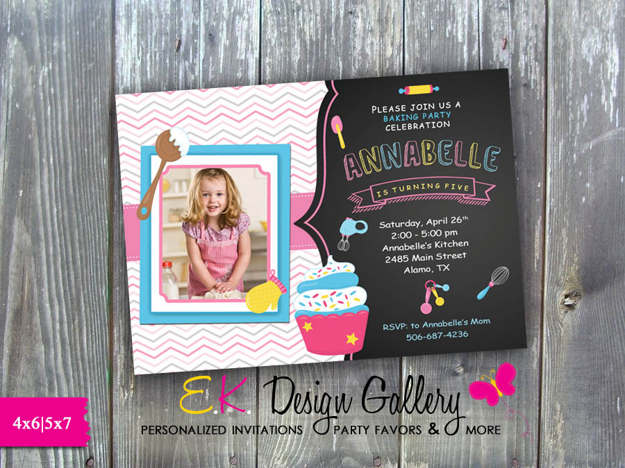 Cooking Birthday Party Invitation, Baking Party Invite, Girls Baking Party - Printed-Cooking Birthday, Party Invitation, Baking Party, Invite, Girls Baking Party, E-File, party printable invitations, digital invites, ek design gallery,
