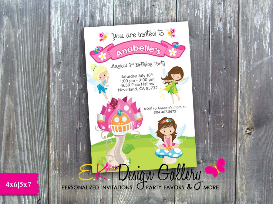Fairy Butterfly Magical Birthday Party Personalized Invitation - Printed-Fairy birthday, fairies,  Butterfly, Magical, Birthday Party, Personalized Invitation, E-File, fairy theme invitation, invitations, invites, digital, party printable, diy, ek design gallary