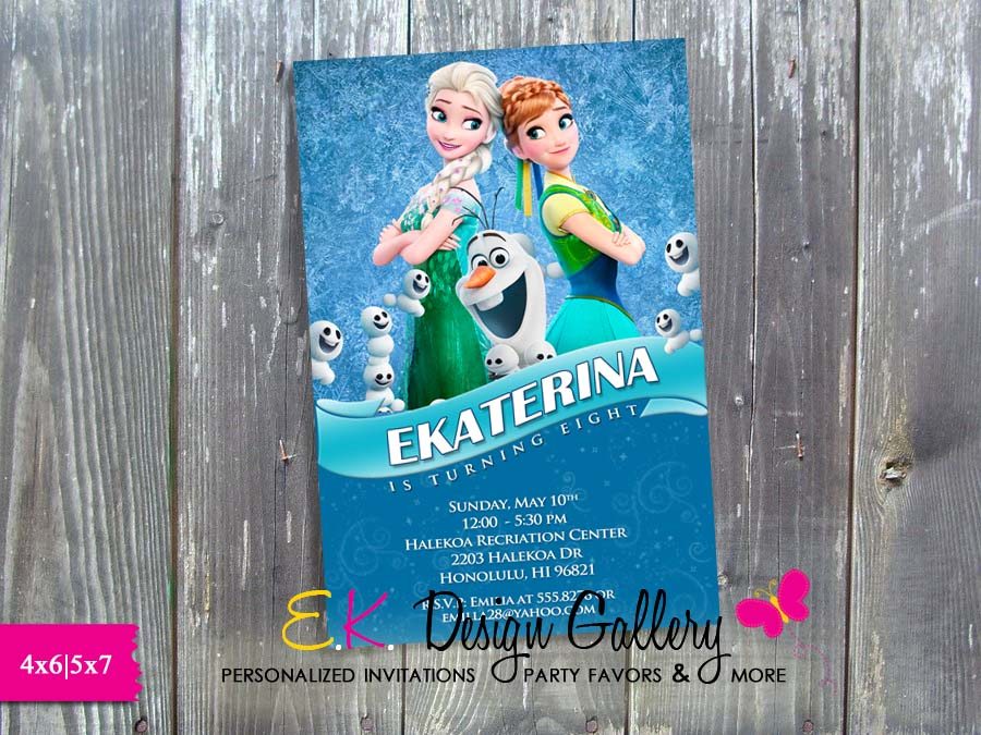 Disney Frozen Fever Anna Elsa Olaf Birthday Party Personalized Invitation - Printed-Disney, Frozen Fever, frozen, Anna, Elsa, Olaf, Birthday Party, Personalized Invitation, digital invite, invitation, party invitation, party printable invites, diy, ek design gallary