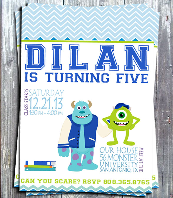 Monsters University Birthday Party Invitation - E-file-Disney, monsters university, birthday, party, printable, invitation, digital, invite, monsters, party printable, party favors, ek design gallary