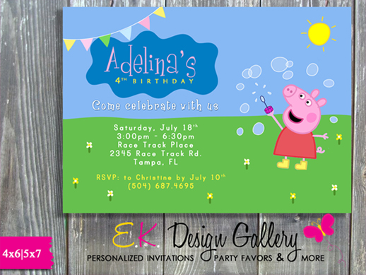 Peppa Pig Kids Birthday Party Invitation - Printed-peppa pig, birthday invitation, printable party, ek design gallery, digital, diy, kids imitation, personalized