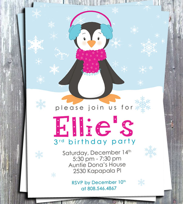 Winter Penguin Girl Birthday Party Invitation -Printed-winter invitation, penguin, girls invite, birthday party, snow, birthday invitation, ek design gallery, party favors