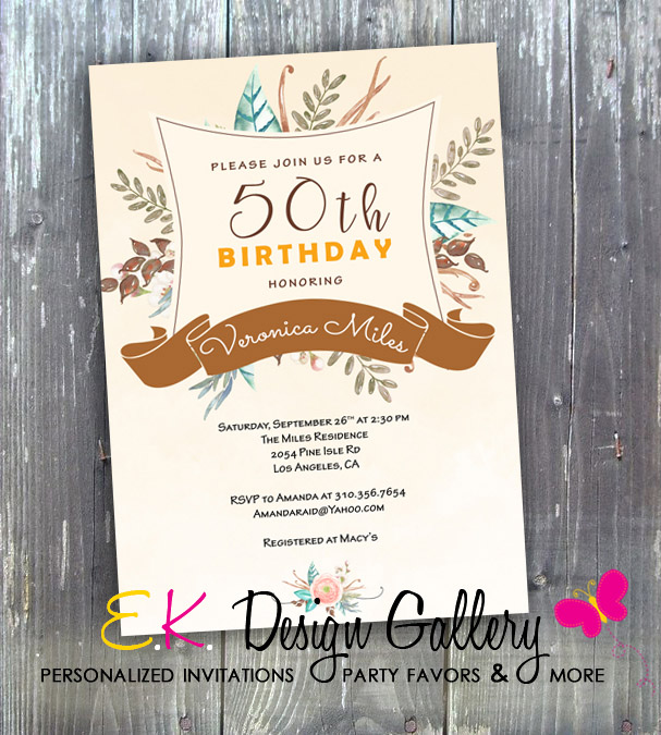 50th Birthday Party Invitation, Elegant Floral Birthday Party Invitation - Printed