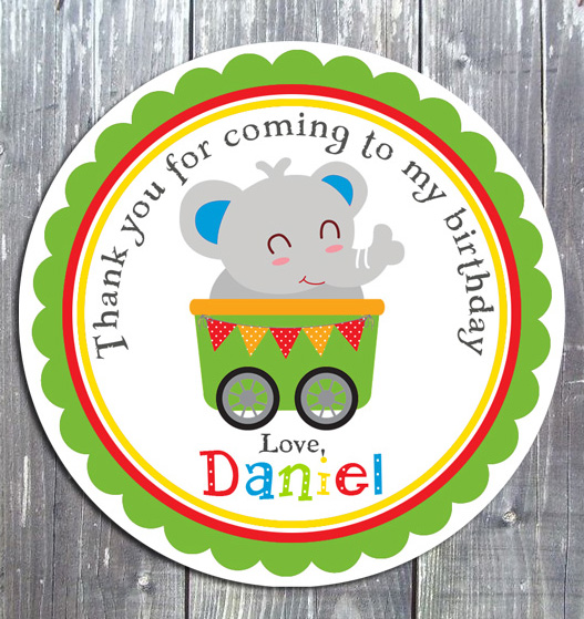 Animal Train Birthday Gift Favor Tag - E-file