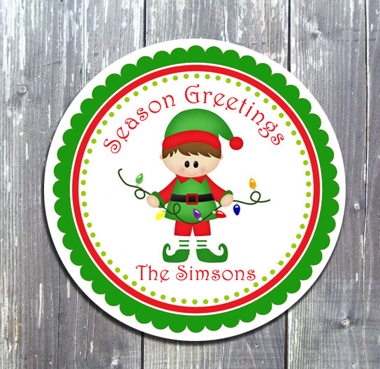 Christmas Elf Favor Gift Tag - E-file