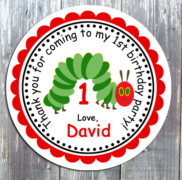 Little Hungry Caterpillar Party Gift Favor Tag -  Printed
