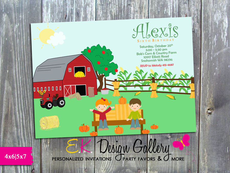 Pumpkin Patch Fall Birthday Harvest Party Hayride Farm Party Printable Personalized Invitation - Printed