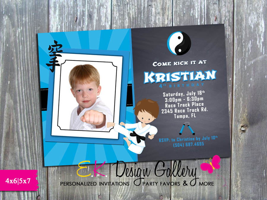 Karate Boy Martial Arts Ninja Birthday Party Invitation - Printed