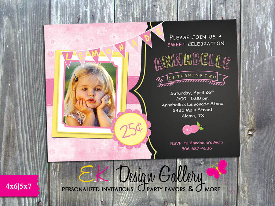 Pink Lemonade Stand Birthday Party Personalized Invitation - Efile