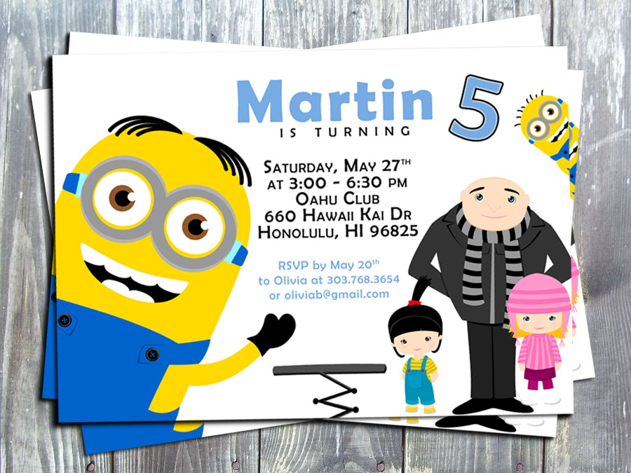 Minions Invitation, Minions Birthday Party Invite - Printed