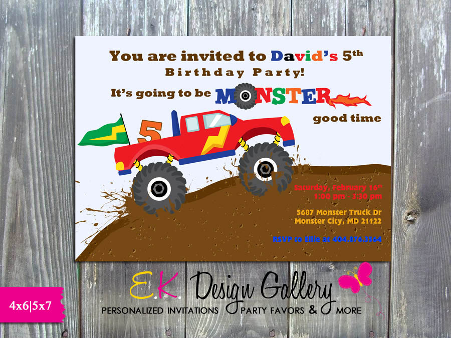 Monster Truck Birthday Party Printable Invitation -Printed