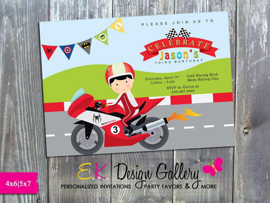 Motorcycle Motocross Racing Birthday Party Invitation - Printed