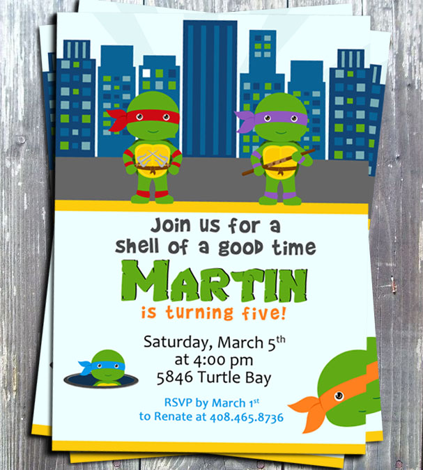 Teenage Mutant Ninja Turtles TMNT Birthday Party Invitation - Printed