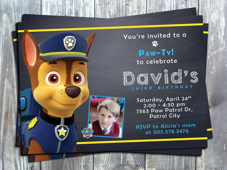 Paw Patrol Chase Birthday Party Invitation - Printed