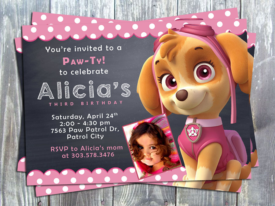 Paw Patrol Skye Birthday Party Invitation - Printed