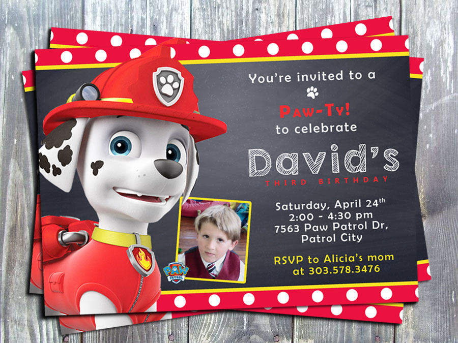 Paw Patrol Marshal Birthday Party Invitation - Printed